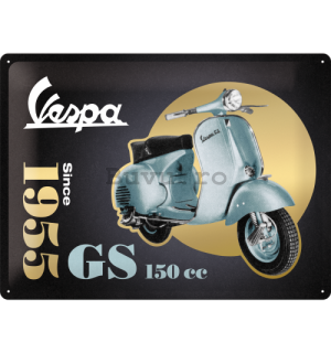 Placă metalică: Vespa GS 150 Since 1955 (Special Black Edition) - 30x40 cm