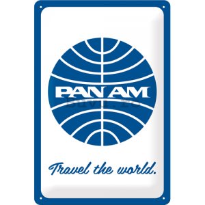 Placă metalică: Pan Am (Travel the world) - 30x20 cm