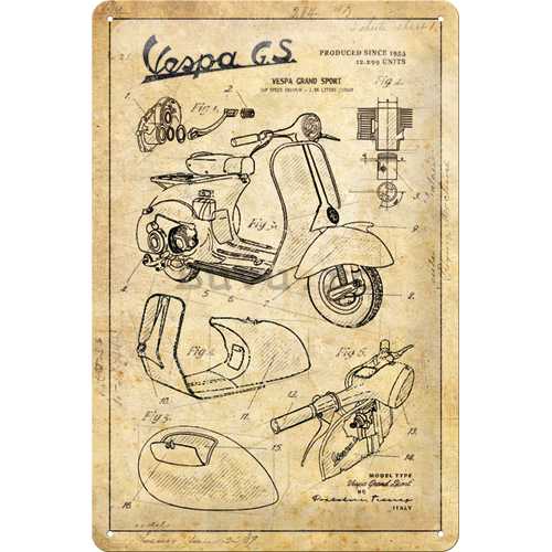 Placă metalică: Vespa GS (Parts Sketches) - 30x20 cm