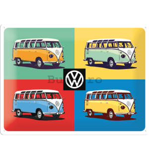 Placă metalică: VW Bulli Pop Art (3) - 30x40 cm