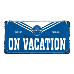 Placa metalica cu snur: Pan Am (On Vacation) - 10x20 cm