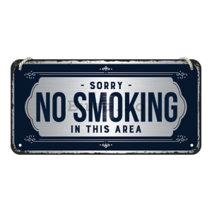 Placa metalica cu snur: Sorry, No Smoking - 10x20 cm