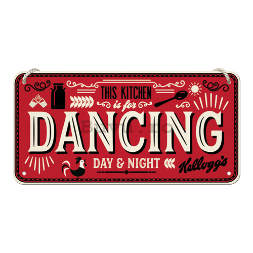 Placa metalica cu snur: This Kitchen is for Dancing - 10x20 cm