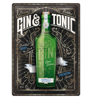 Placă metalică: Gin & Tonic Green Edition - 30x40 cm