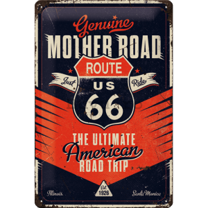 Placă metalică: Route 66 (The Ultimate Road Trip) - 20x30 cm