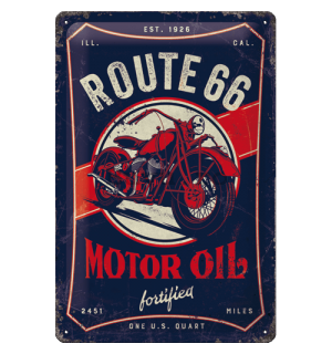 Placă metalică: Route 66 (Motor Oil Fortified) - 20x30 cm