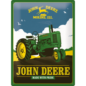 Placă metalică: John Deere (Made With Pride) - 30x40 cm
