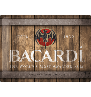 Placă metalică: Bacardi (Wood Barrel Logo) - 40x30 cm