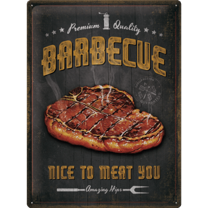 Placă metalică: Barbecue Nice To Meat You - 40x30 cm
