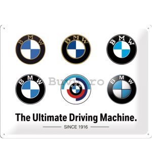 Placă metalică: BMW (Logo Evolution) - 40x30 cm