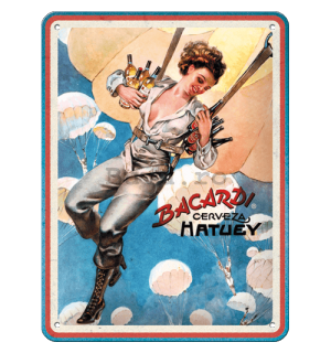 Placă metalică: Bacardi (Cerveza Hatuey Pin Up Girl) - 15x20 cm