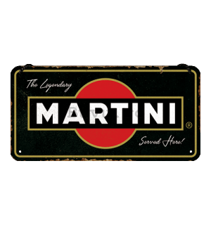 Placa metalica cu snur: Martini Served Here - 20x10 cm