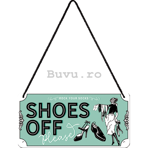 Placa metalica cu snur: Shoes Off - 20x10 cm