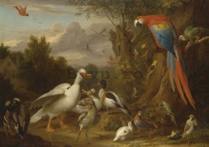 Fototapet: Ducks, Parrots and Other Birds in a Landscape - 104x152,5 cm
