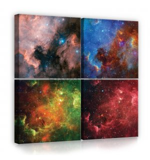 Tablou canvas: Univers - set 4 buc 25x25cm