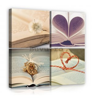 Tablou canvas: Bookmark Love - set 4 buc 25x25cm