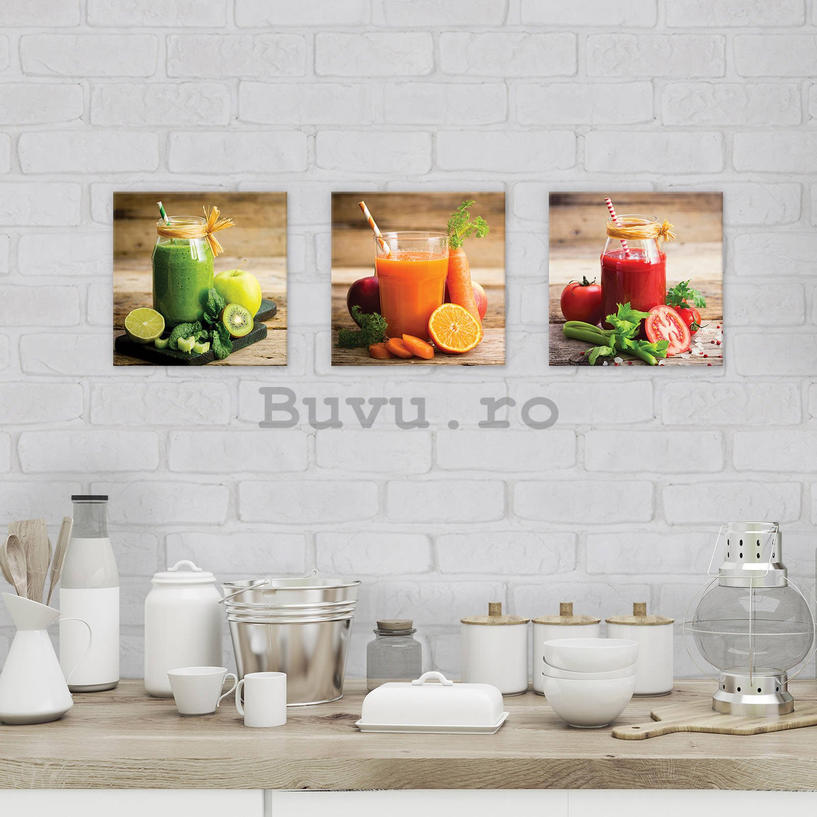 Tablou canvas: Smoothie - set 3 buc 25x25cm