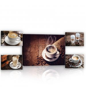 Tablou canvas: Coffee break - set 1 buc 70x50 cm și 4 buc 32,4x22,8 cm