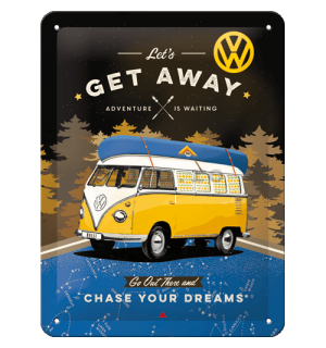 Placă metalică: VW Bulli Let's Get Away (Night) - 15x20 cm