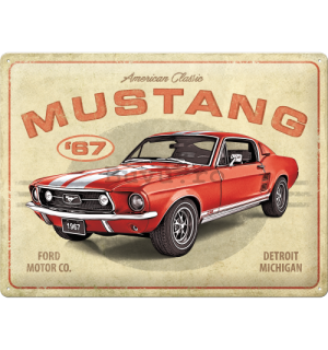 Placă metalică: Ford Mustang GT 1967 Red - 40x30 cm