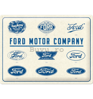 Placă metalică: Ford Logo Evolution - 40x30 cm