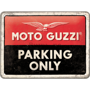 Placă metalică: Moto Guzzi Parking Only - 20x15 cm