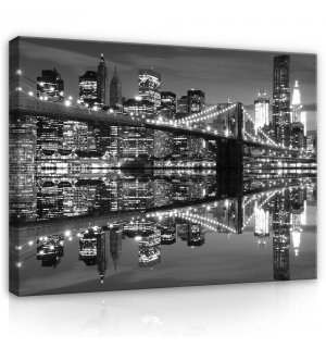 Tablou canvas: Brooklyn Bridge alb-negru (3) - 80x60 cm